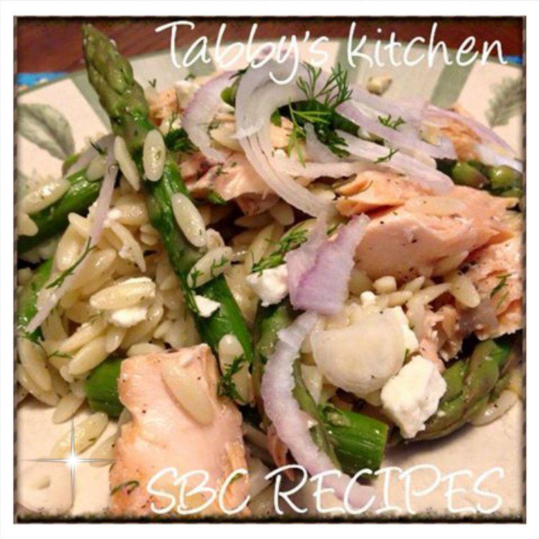 Salmon, Orzo, and Asparagus Salad with lemon-dill vinaigrette~~original recipe compliments of Cooking Light Magazine