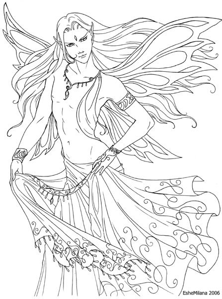 Male Faery In A Sari Lineart Fairy Coloring Pages Fairy Coloring Male Fairy