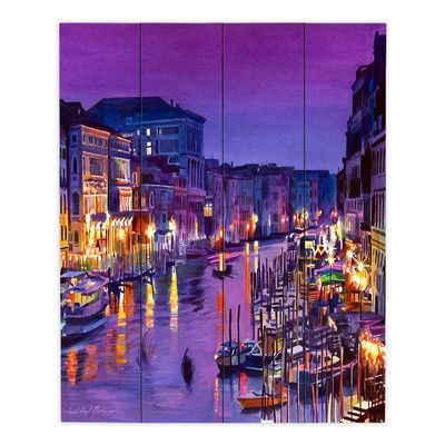 """DiaNocheDesigns Romantic Venice Night by David Lloyd Glover Painting Print Plaque Size: 20"""" H x 16"""" W x 1"""" D"""