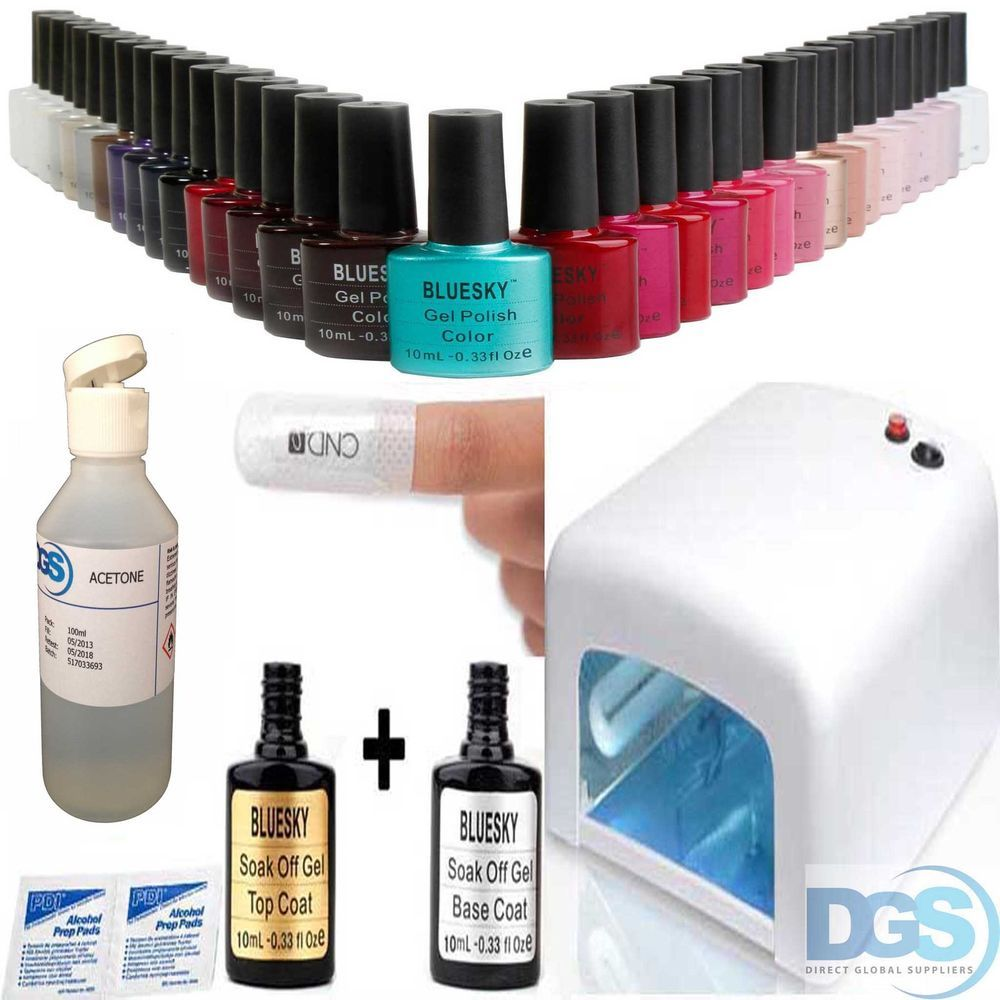Professional Bluesky UV Nail Gel starter kit +10 Shellac remover ...