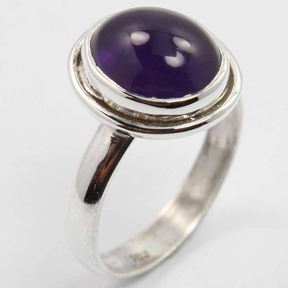 925 Solid Sterling Silver Elegant Ring Size US 5.75 Natural AMETHYST Gemstone #SunriseJewellers #Fashion