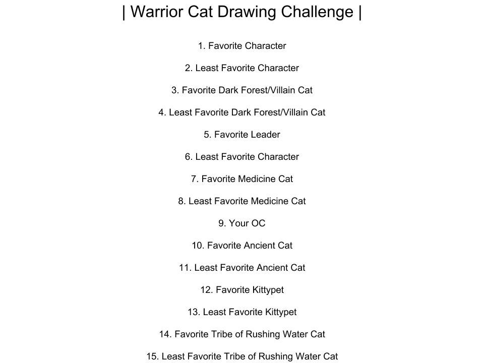 Warrior Cat S Drawing Challenge If You Want To Have Fun Every