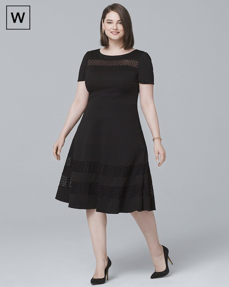 Women\'s Plus Banded Black Fit-and-Flare Dress by White House Black ...