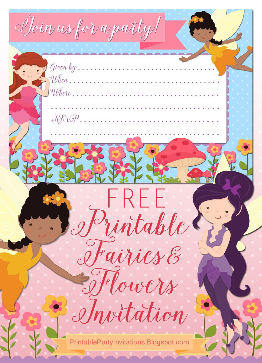 FREE Printable Fairies And Flowers Party Invitation