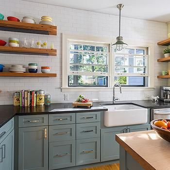 23 Gorgeous Blue Kitchen Cabinet Ideas | Shelving, Teal cabinets ...