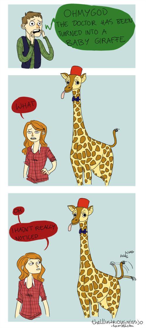 Cause Matt Smith is clumsy like a baby giraffe. Get it?