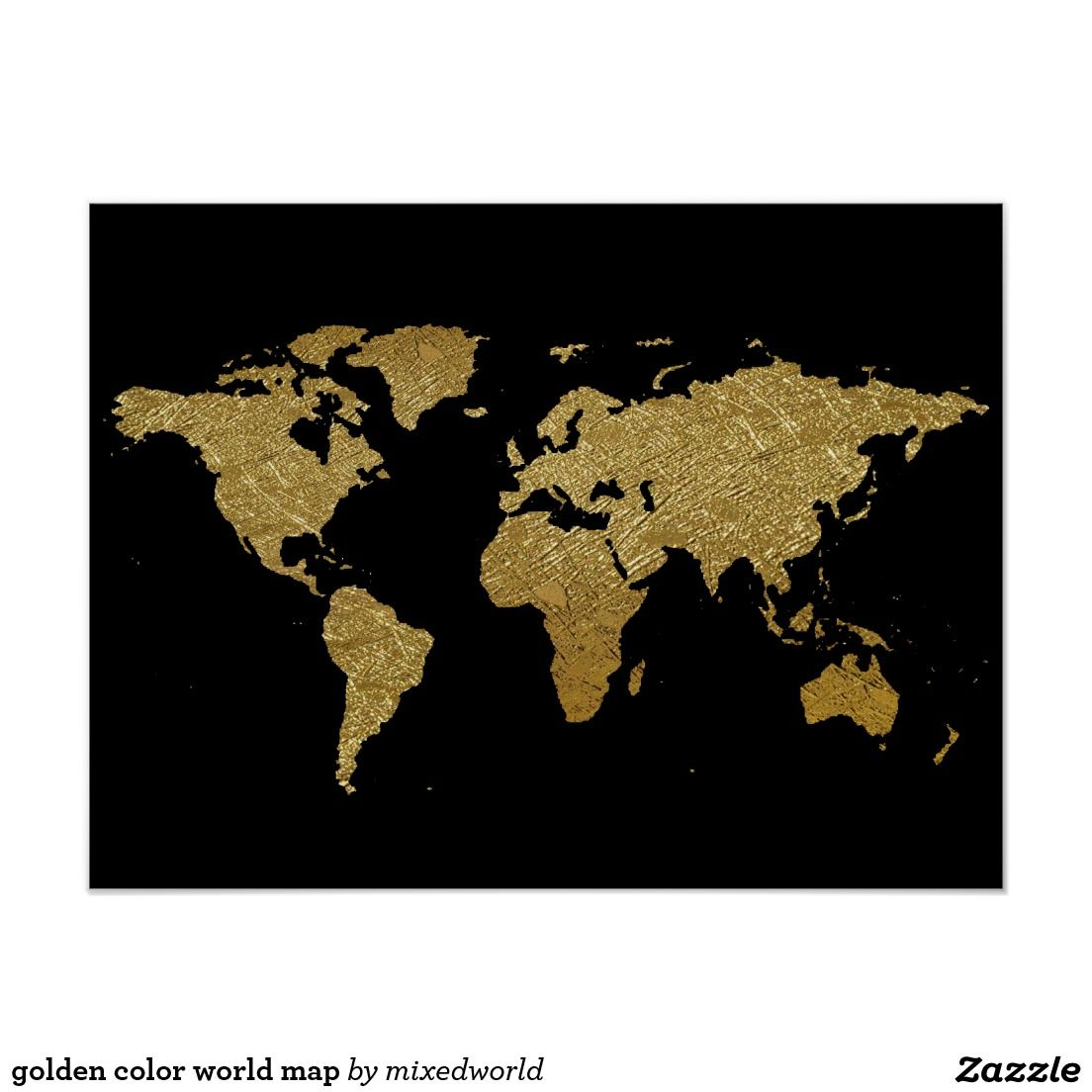 Golden color world map poster art works pinterest golden color golden color world map poster gumiabroncs Image collections