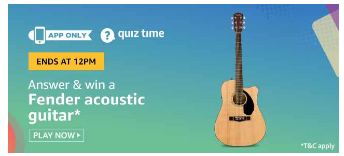 Today Amazon Quiz Answers 11 July Answers Added Win Fender Acoustic Guitar In 2020 Fender Acoustic Guitar Fender Acoustic Quiz