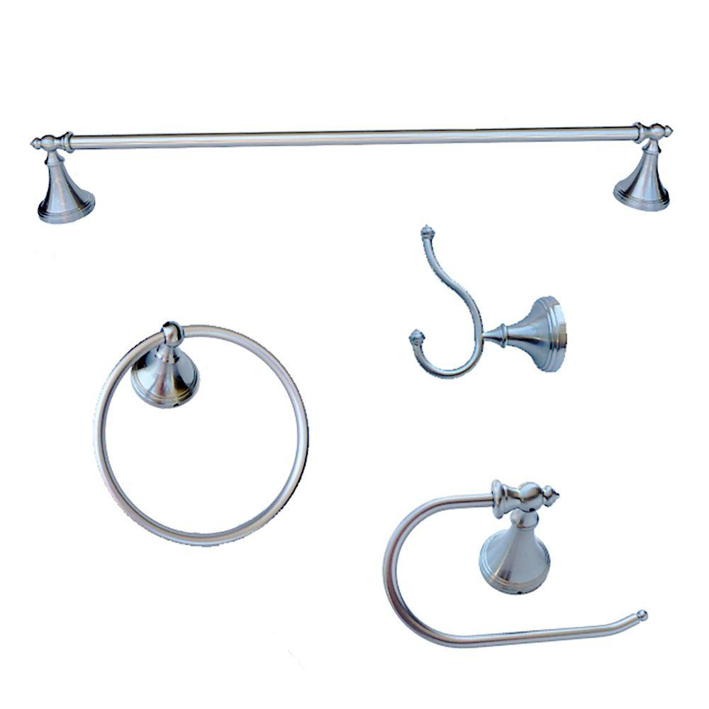 arista annchester collection 4 piece bathroom accessory kit in chrome grey