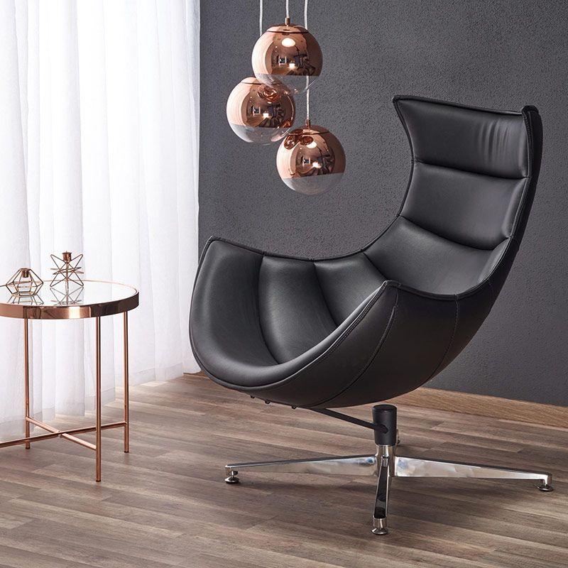 Черно кожено кресло с яйцевидна форма (5 цвята) | Chair ...