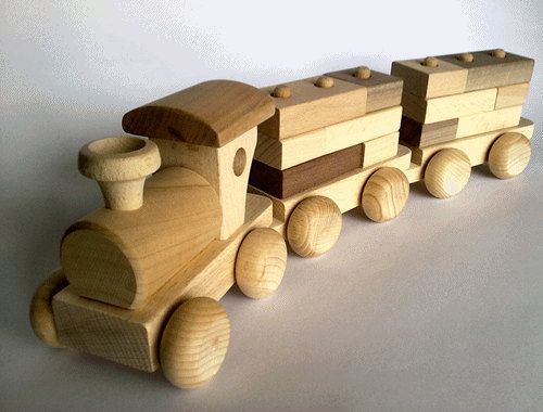 Wooden Toy Train Set With Building Blocks Eco Friendly