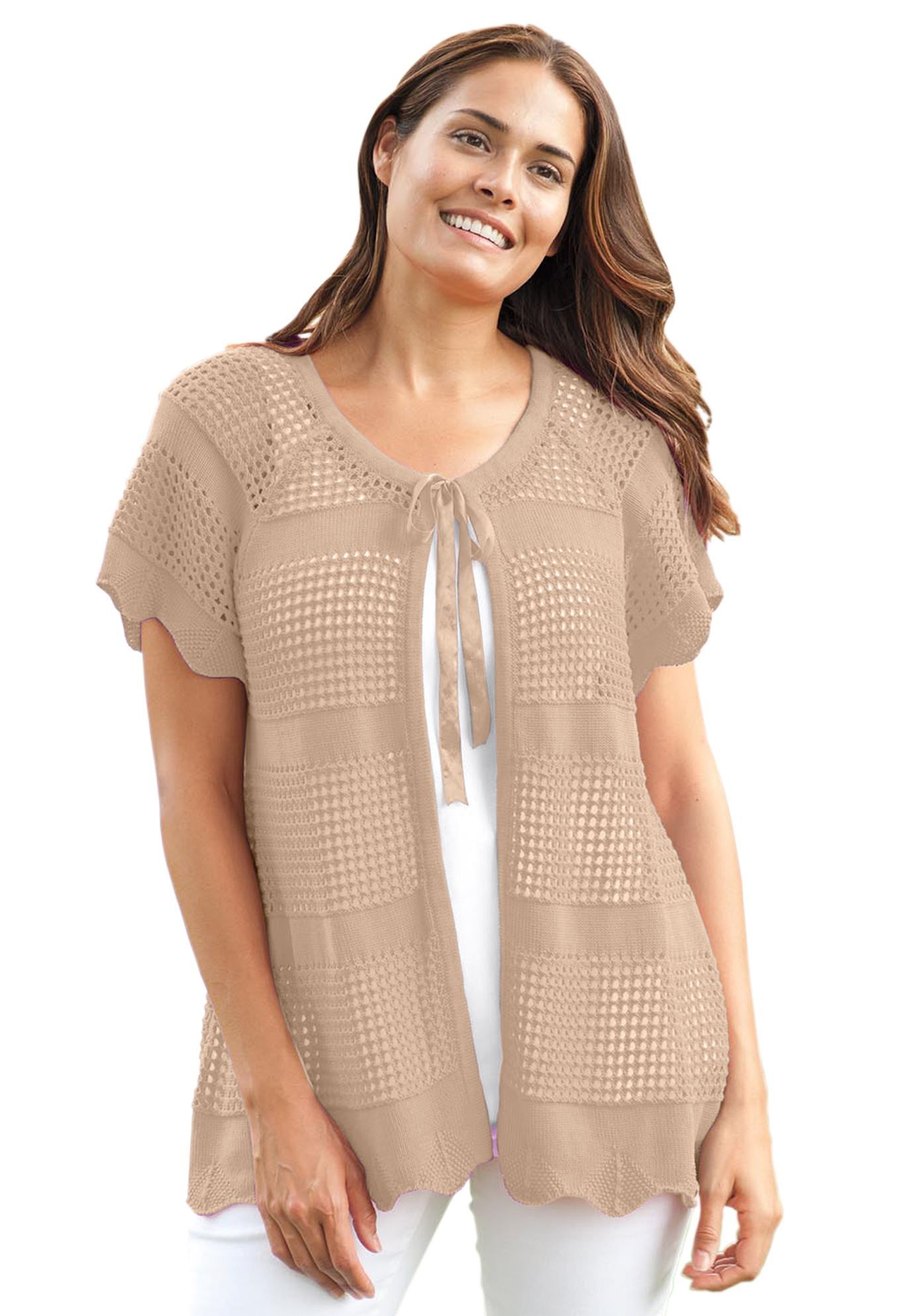 Plus Size Short sleeve crochet knit cardigan | Women within ...