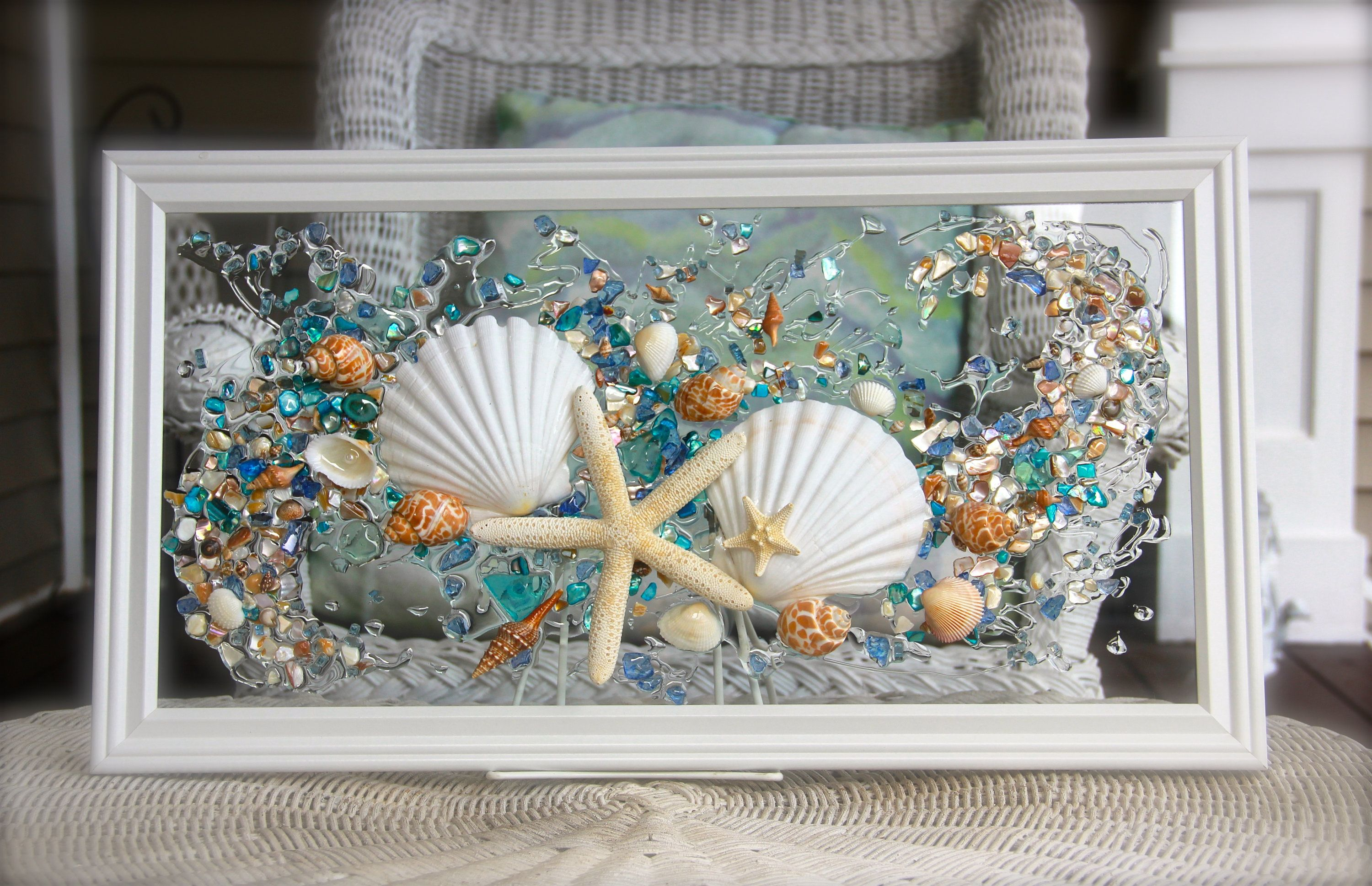Sea Glass Art For Beach Decor Seashell Wall Art For Nautical Bathroom Beach Home Decor Wall Han Beach House Decor Coastal Living Decor Beach House Wall Decor