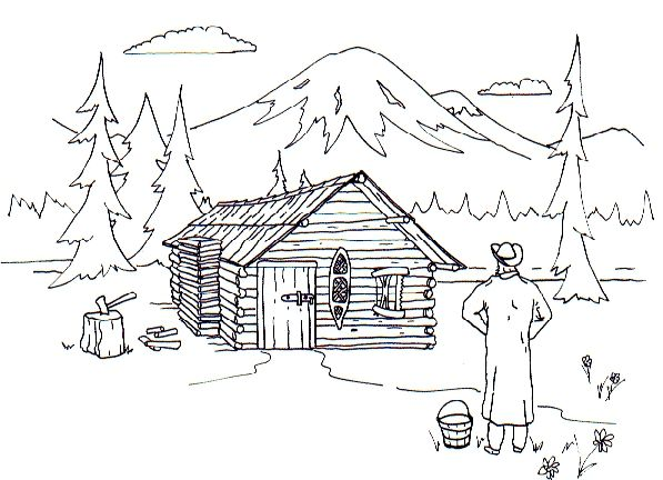 Cabin On A Lake Coloring Pages Coloring Panda Log Coloring Pages