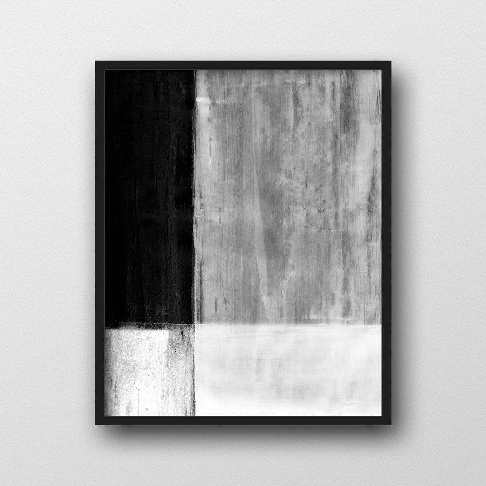 Black u white colorblock art print modern abstract painting print