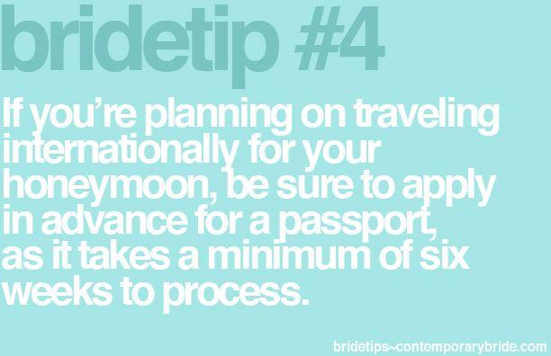 Bride Tip - traveling internationally