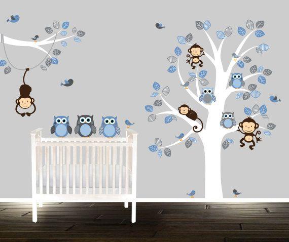 Boys Tree Wall Decal Stickers Nursery Blue