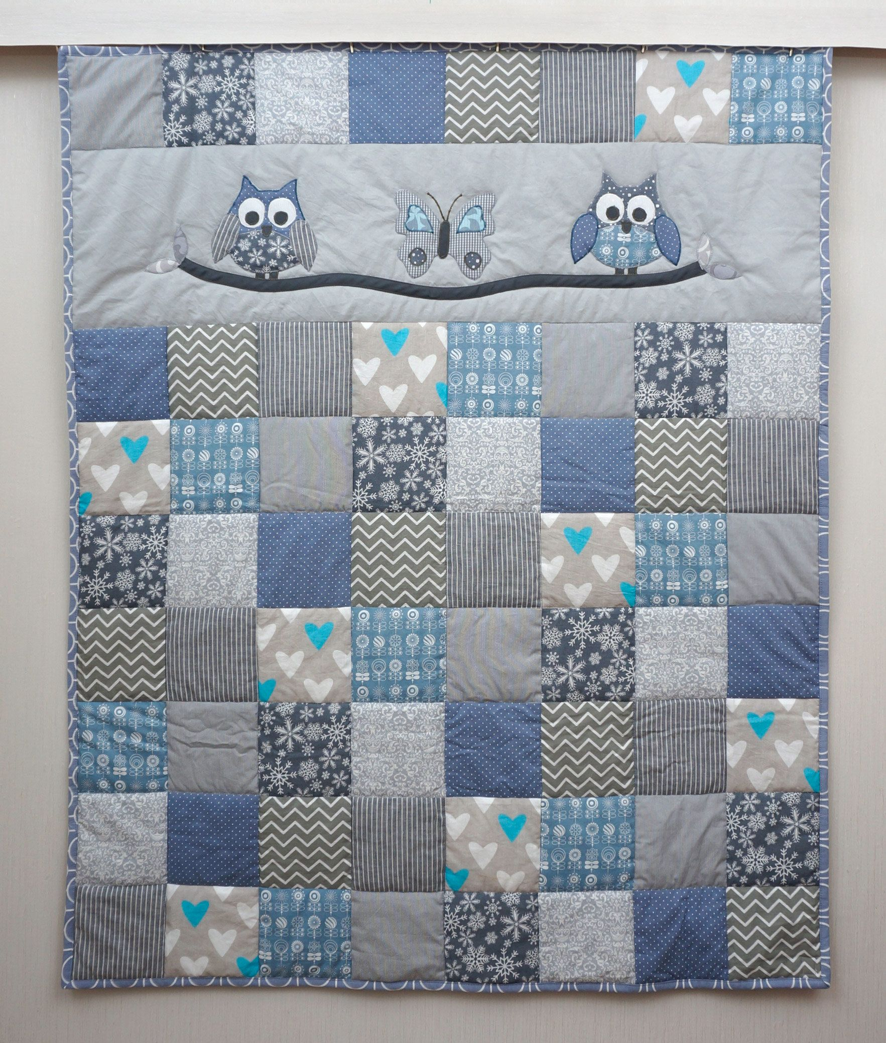 Crib Quilt Owl Quilt Baby Boy Quilt Blue And Gery Patchwork
