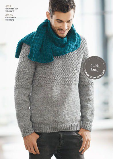 chunky hand knit sweater and scarf for men by Patons ...