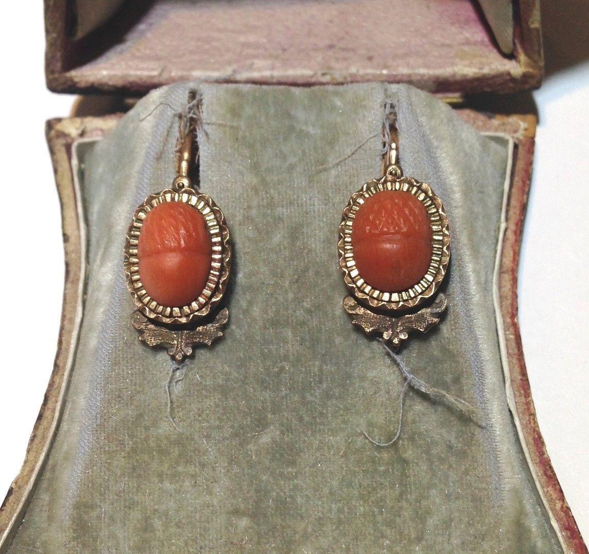 Wonderful Antique Carved Coral Acorn Victorian 14k Rose Gold Earrings   eBay