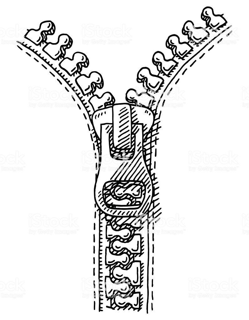 Hand Drawn Vector Drawing Of A Zipper Black And White Sketch On A Zipper Drawing Drawings Zipper Tattoo