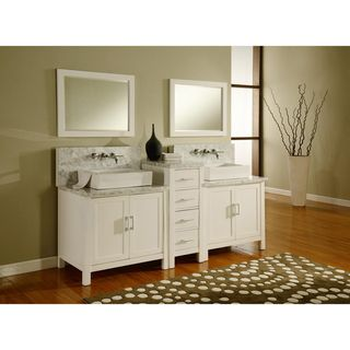 Horizon 84 Inch Pearl White/ Carrera Marble Double Bathroom Vanity Sink  Console