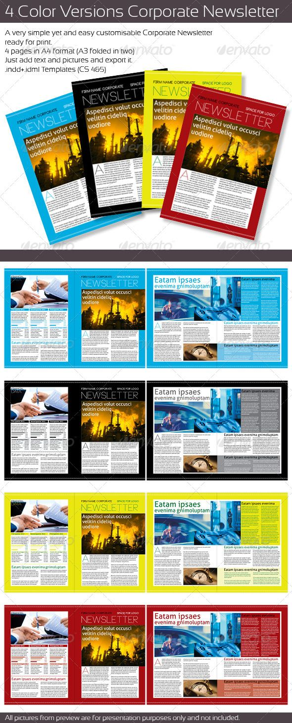 Color Version Corporate Newsletter  Newsletter Templates Print