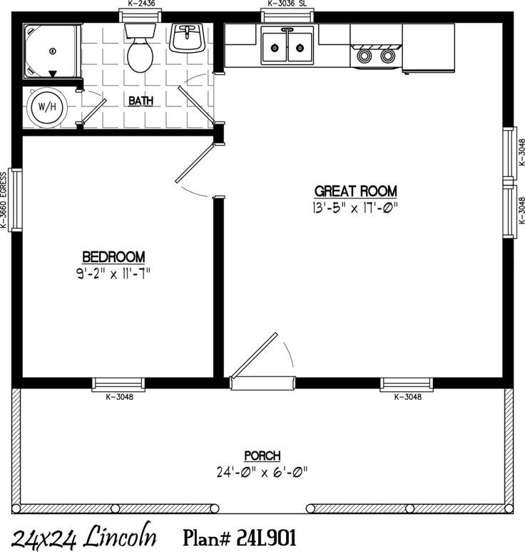 28 X 24 Cabin Floor Plans 24 X 24 Cabins 24 X 24 Including 6 X 24 Porch Cabin Floor Plans One Bedroom House 1 Bedroom House Plans