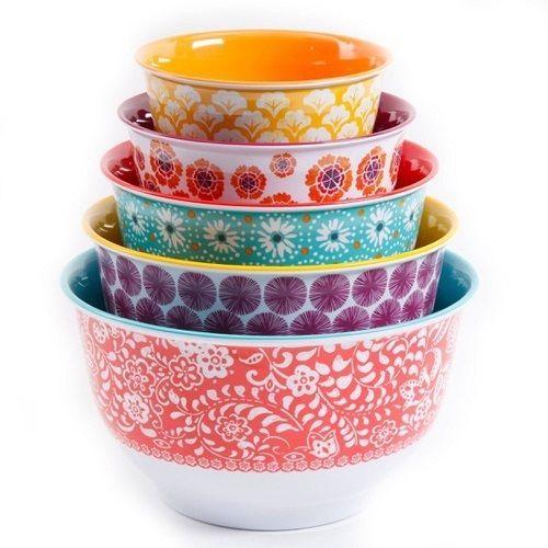 Mixing Bowl Set Pioneer Woman 10 Nesting Bowls Lids Plastic Various ...