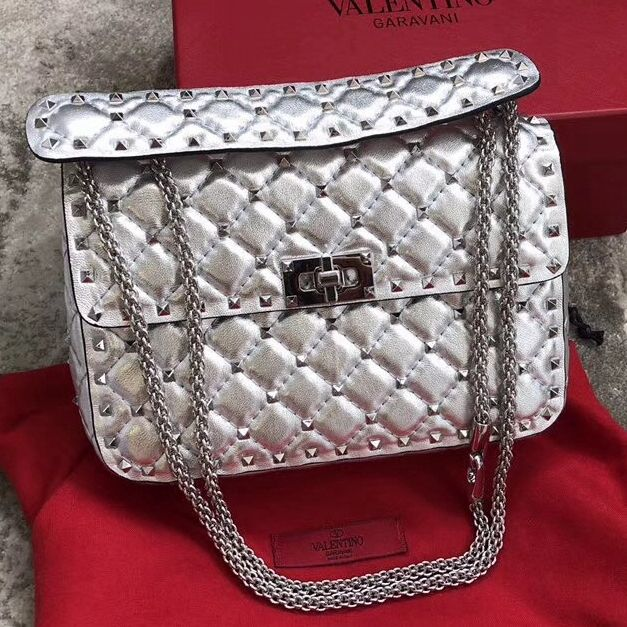0026cb20ff Valentino Metallic Lambskin Medium Rockstud Spike Chain Bag Silver 2018