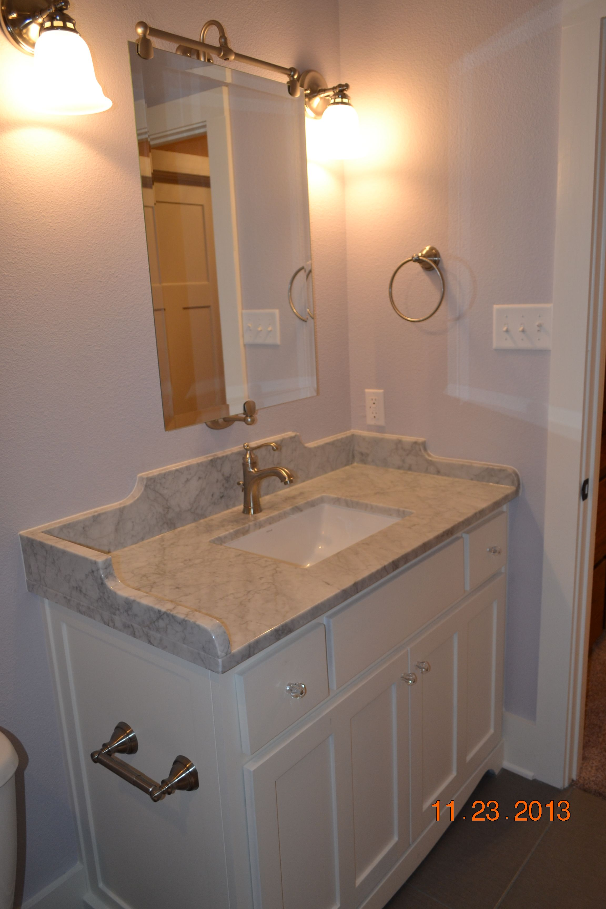 My Inspiration From Pottery Barn Lucca Vanity Undermount Sink With Custom Designed Vanity Top In Honed Carra Purple Bathrooms Shaker Style Cabinets Style Tile