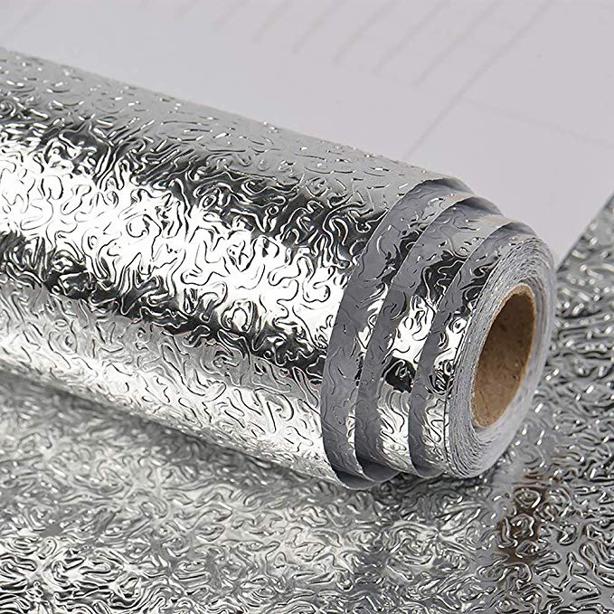 Amazon Com Veelike Kitchen Backsplash Wallpaper Peel And Stick Aluminum Foil Co Aluminum Amazoncom Backspla In 2020 Backsplash Wallpaper Drawer Liner Shelf Liner