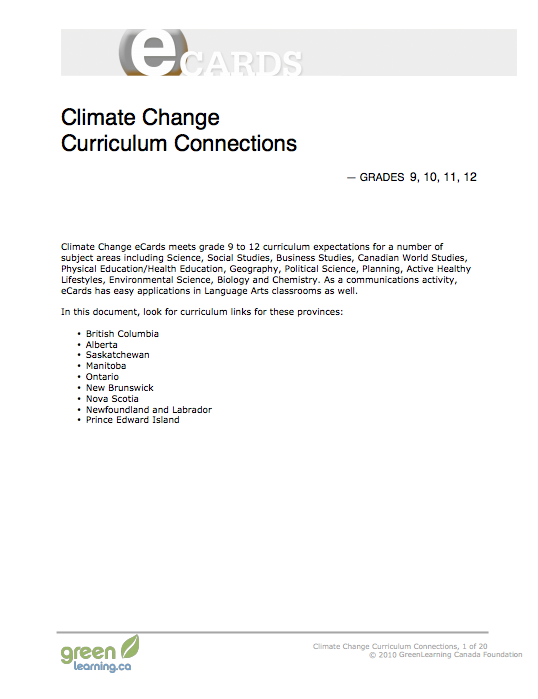 Climate Change, Curriculum Connections - Printable lesson plan