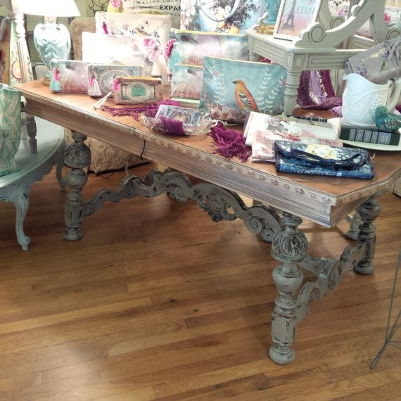 SOLD:Rustic Carved Painted Cottage Shabby Chic Dining Table With Six Chairs