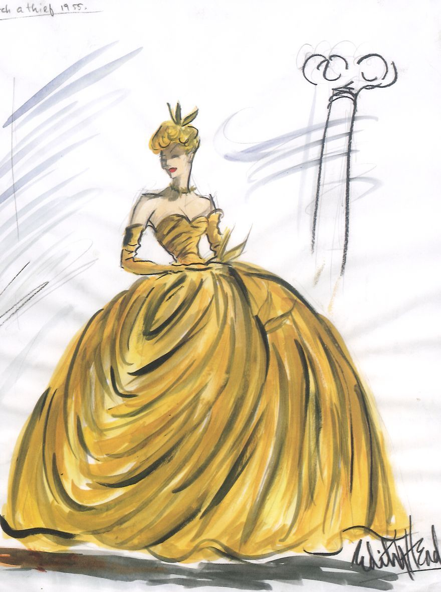 Edith Head sketch for Grace Kelly in To Catch A Thief