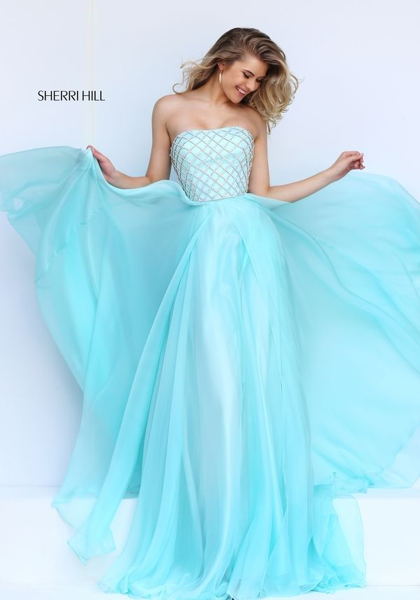 2016 Blue Strapless Beaded Gown by Sherri Hill 50039