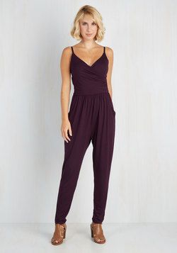 Slicker Than Your Average Jumpsuit in Plum from Modcloth