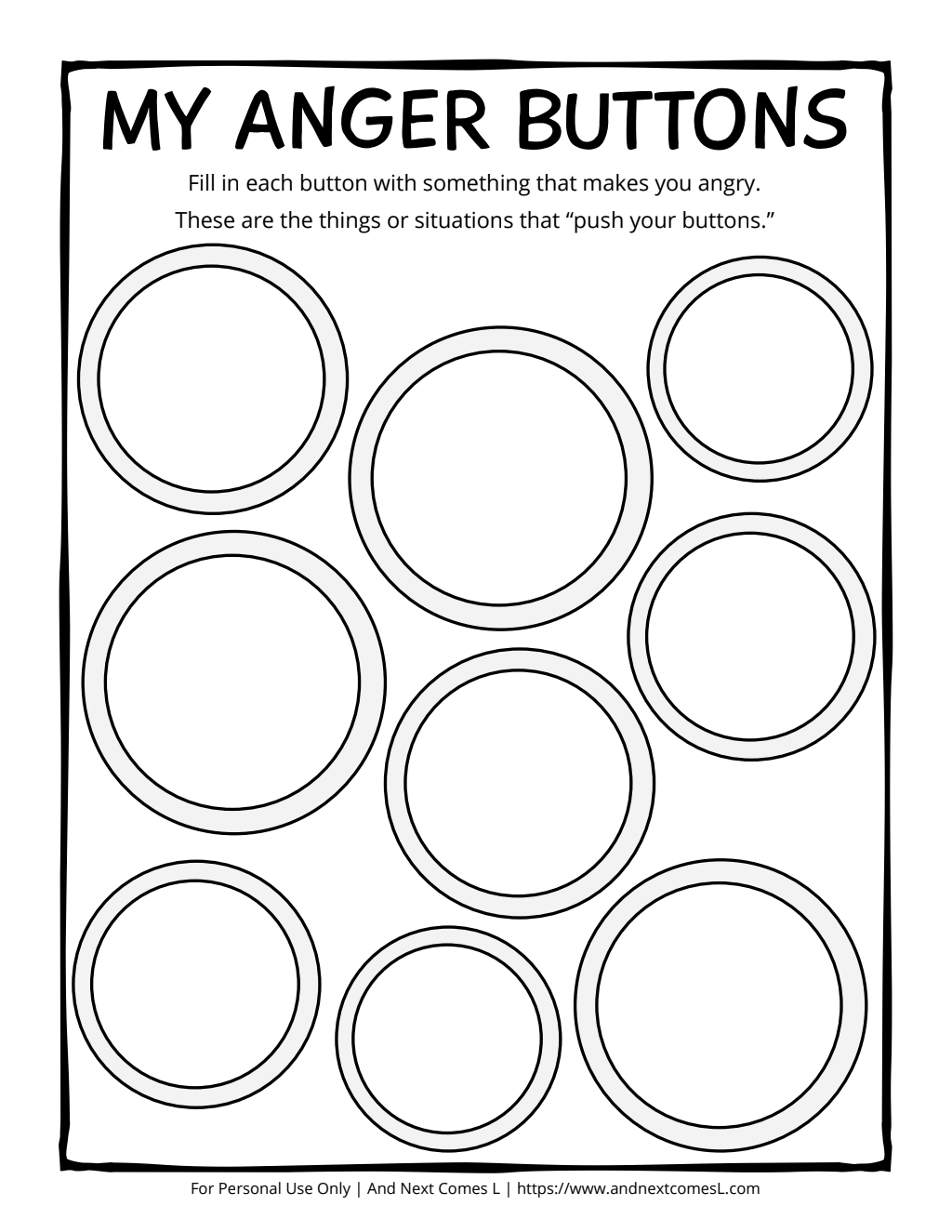 Anger Buttons Printable