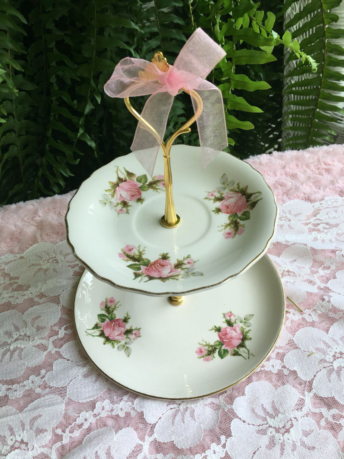 Vintage Plate 2 Tiered Pink Rose Dessert Stand & Vintage Plate 2 Tiered Pink Rose Dessert Stand | Vintage plates ...