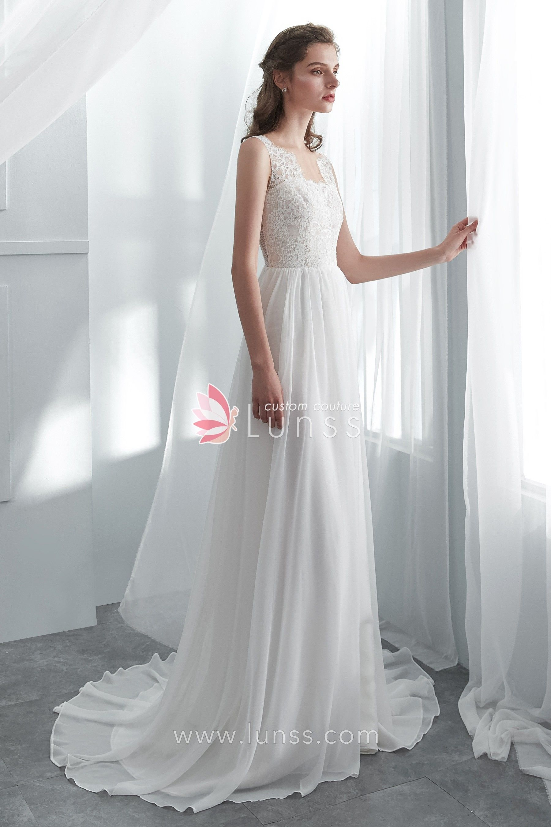 cdc6361865 High Quality Soft Ivory Scallop Neckline Lace Chiffon Flowing A line Beach  Wedding Dress