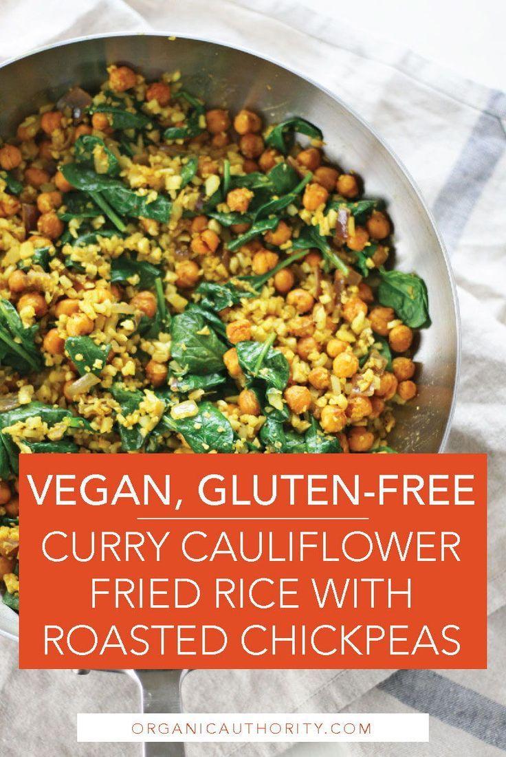 Vegan Gluten Free Curry Cauliflower Fried Rice With Roasted Chickpeas