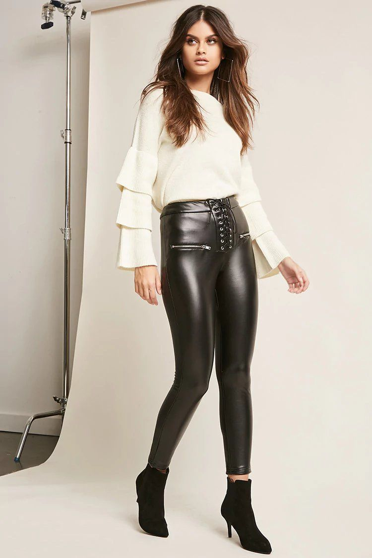 64acf0f1aa0519 Product Name Lace-Up Faux Leather Pants