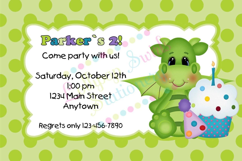 Printable Baby Dragon with Cupcake Boys Birthday Invitations   baby ...