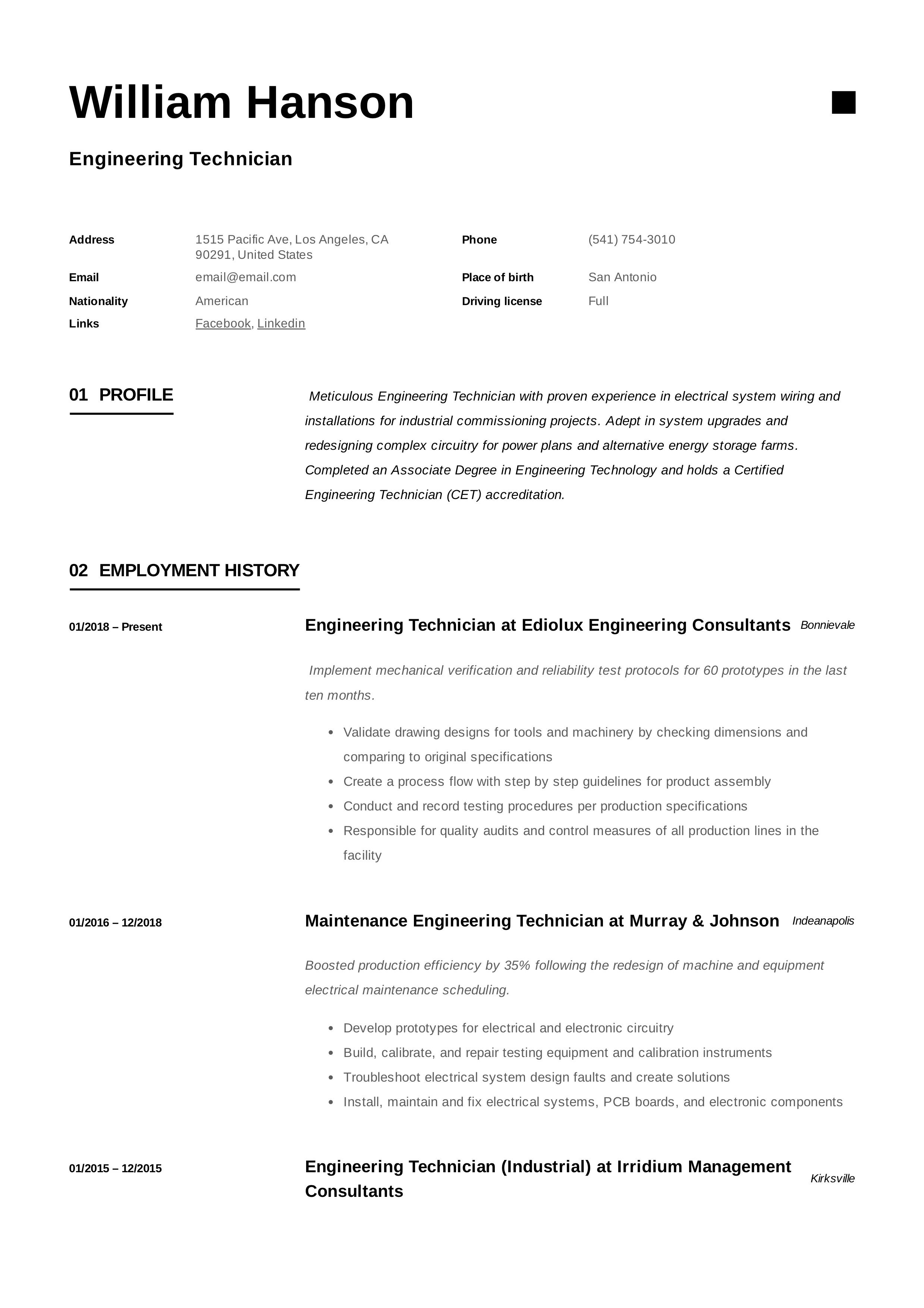 Engineering Technician Resume Template Technician Guided Writing Engineering