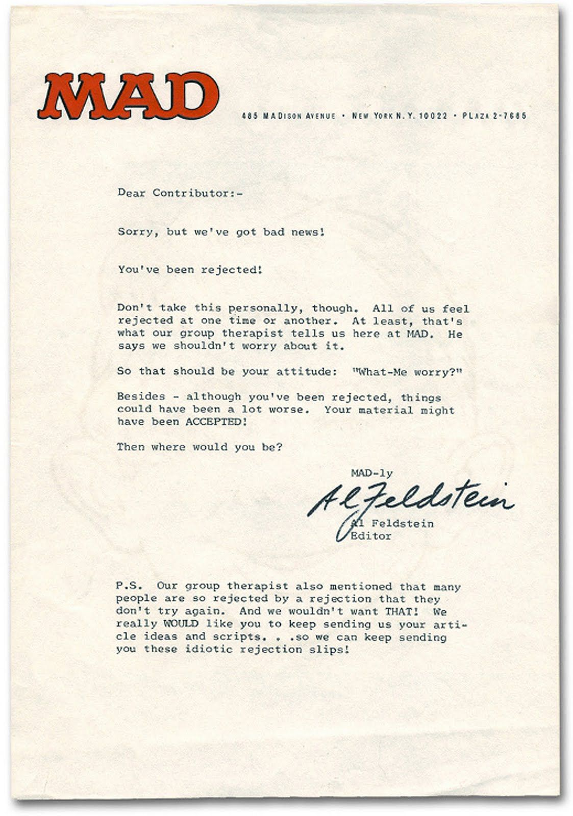 Rejection Letter From Mad  Rejection Letters