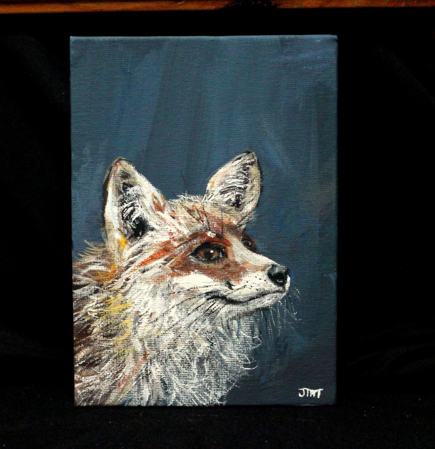 Red Fox Painting On  Canvas Board Original Acrylic Art Unframed Art Small Art Wall Art Wall Decor Home Decor Animal Art By Thisarttobeyours On
