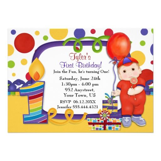 Colorful  Polka Dot Circus First Birthday Invitations . Customize card text. Matching sticker, magnets apparel and more in my store. Text art Years available...1, 2, 3 and 4