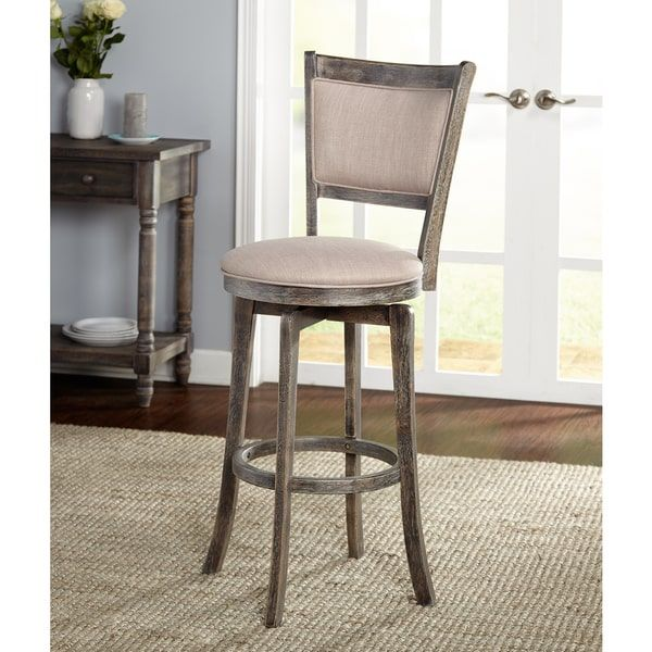 French Provincial Kitchen Stools: Simple Living French Country Grey Rubberwood/Fabric 30