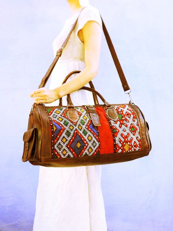 FREE SHIPPING Weekender bag Large leather bag by BohemianMorocco