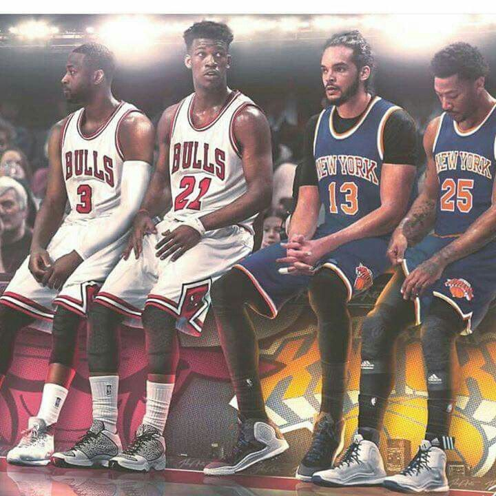 159db927c33 ... The Bulls' Dwyane Wade and Jimmy Butler versus the Knicks' Joakim Noah  and Derrick ...